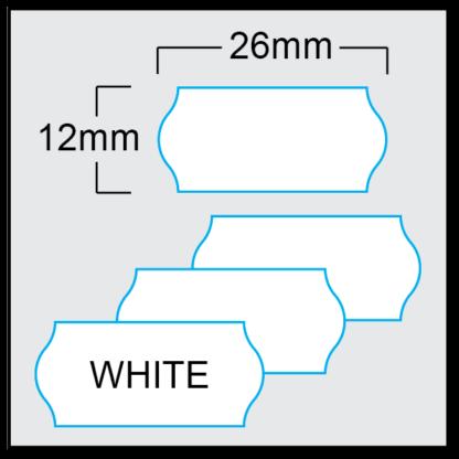 White CT4 26 x 12mm price gun labels