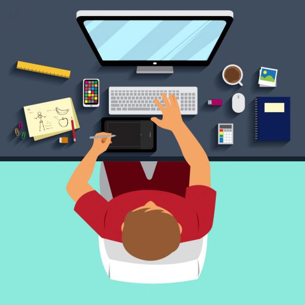 artwork guidelines graphic designer at desk