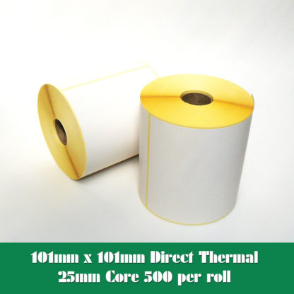 101mm x 101mm direct thermal printer labels for desktop and industrial direct thermal printers