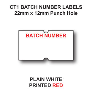 CT1 22 x 12mm Batch Number Labels for Pricing Guns - White Paper - Red Text