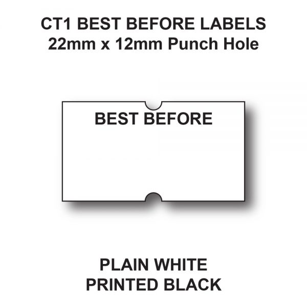CT1 22 x 12mm Best Before Labels for Price Gun Labels - White Paper - Black Text