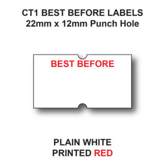 CT1 22 x 12mm Best Before Labels for Pricing Guns - White Paper - Red Text