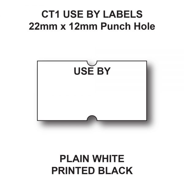 CT1 22 x 12mm Use By labels for price guns - White labels with black text