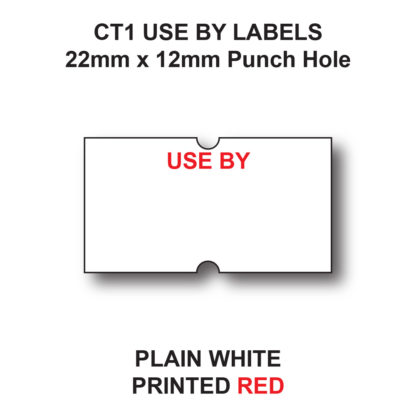 CT1 22 x 12mm USE BY price gun labels - White labels with red text
