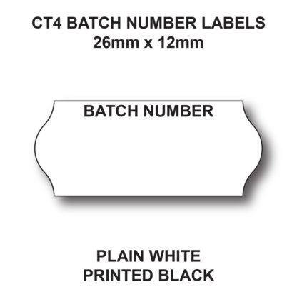CT4 26 x 12mm Batch Number Labels for Pricing Guns - White Paper - Black Text