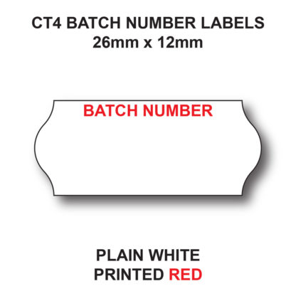 CT4 26 x 12mm Batch Number Labels for Pricing Guns - White Paper - Red Text