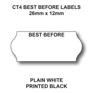 CT4 26 x 12mm Best Before Price Gun Labels