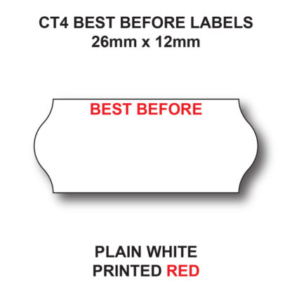 CT4 26 x 12mm Best Before Labels for Pricing Guns - White Paper - Red Text
