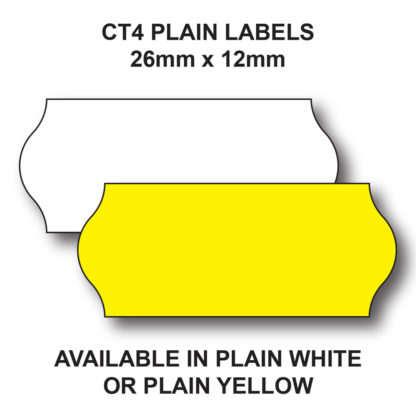 CT4 26 x 12mm price gun labels are available in White or Yellow
