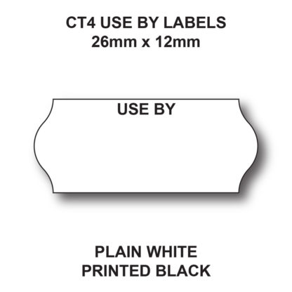 CT4 26 x 12mm Use By Labels for single line price guns