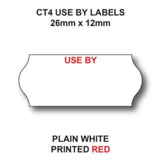 CT4 26 x 12mm USE BY price gun labels