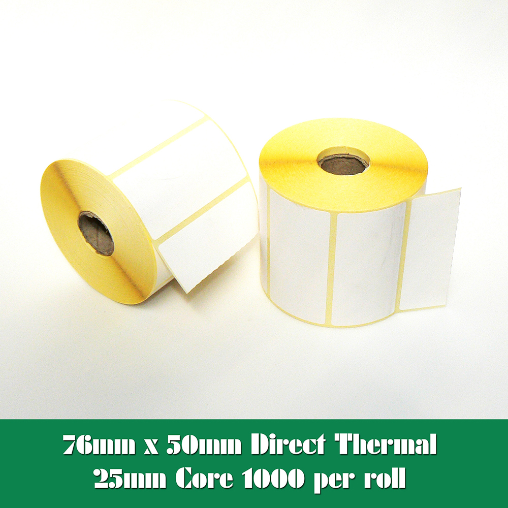 100 x 50mm Direct Thermal Labels 1,000 labels per roll for Zebra type printers