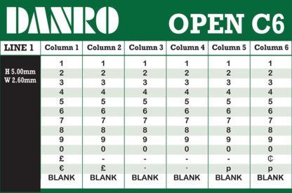Open C6 Labelling Gun Band Layout