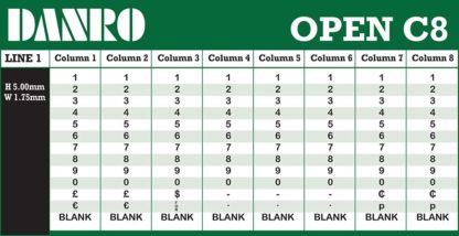Open C8 Labelling Gun Band Layout