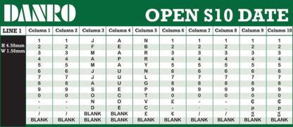 Open S10 Date Labelling Gun Band Layout