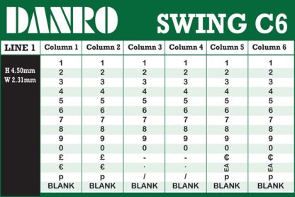 Swing C6 Labelling Gun Band Layout