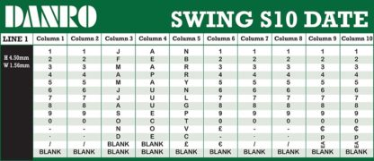 Swing S10 Date Labelling Gun Band Layout