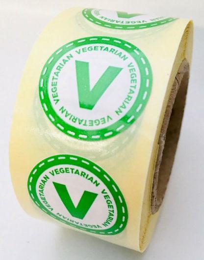 Vegetarian food labels - 25mm diameter